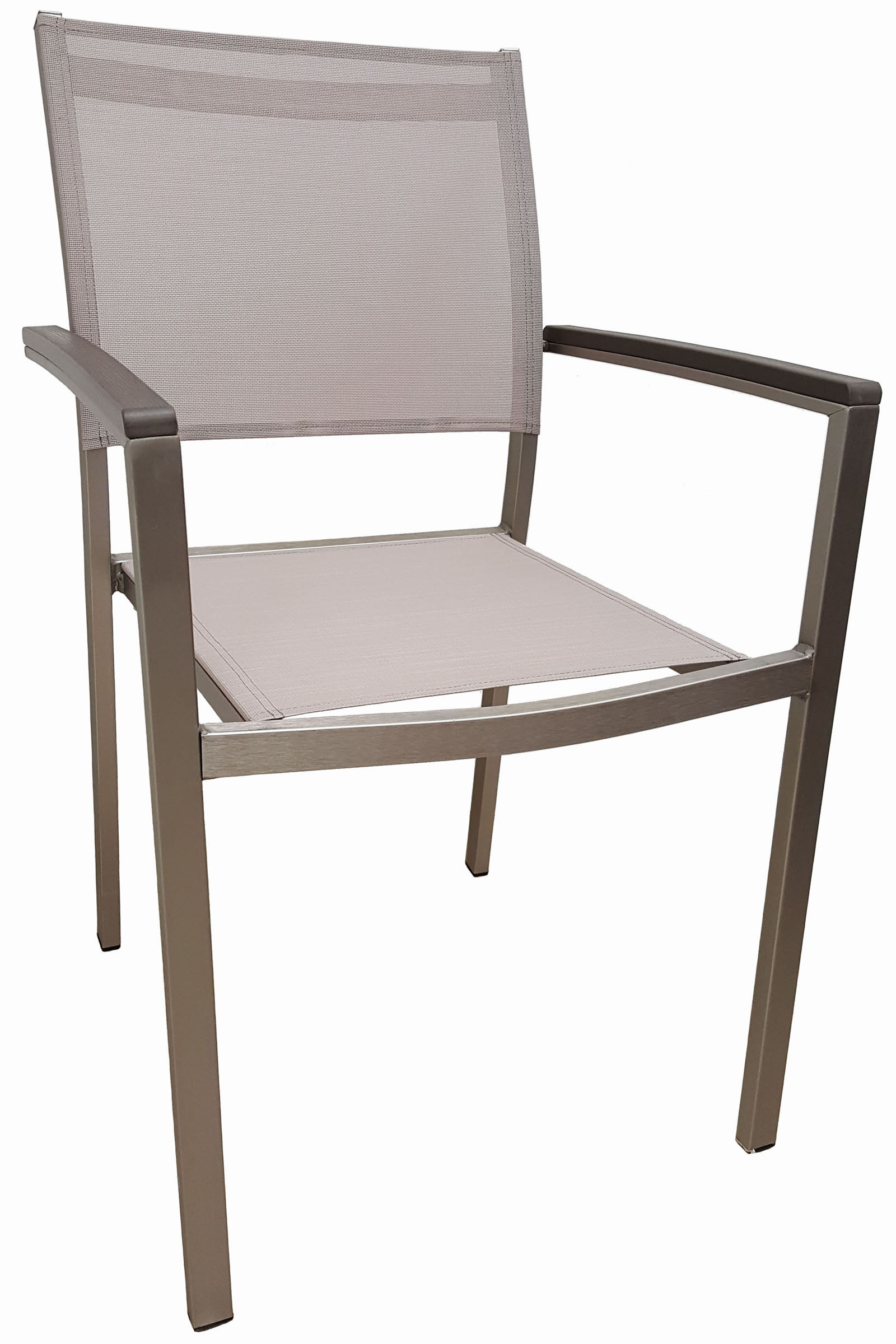 AL-420-04-TEX MADISON ARMCHAIR B.ALUM/LT GREY TEX
